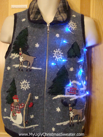 Light Up Christmas Sweater Vest with Startled Reindeer