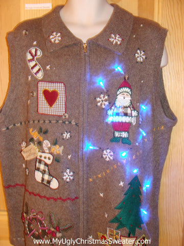 Light Up Christmas Sweater Vest with Crafty Plaid Stocking