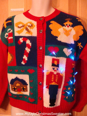 Light Up Christmas Sweater 80s Nutcracker, Angel, Candycane