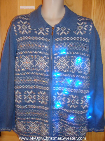 Light Up Christmas Sweater Blue Nordic Snowflakes