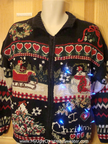 Light Up Christmas Sweater Geometric Horrible Mess