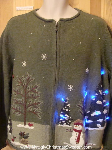 Light Up Christmas Sweater Green Zip with Winter Scene
