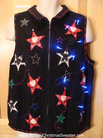 Light Up Christmas Sweater Vest with Starry Santas