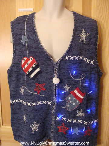 Light Up Christmas Sweater Patriotic Mittens and Stars