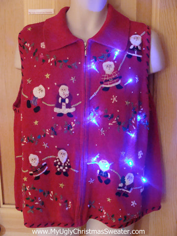 Light Up Christmas Sweater Vest with Startled Santas