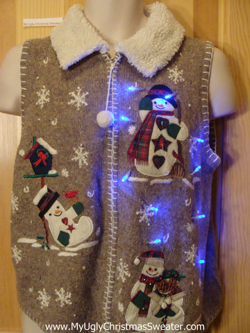 Light Up Brown Christmas Sweater Vest Playing Snowmen