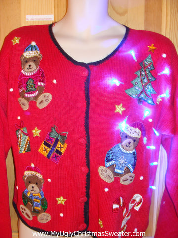 Light Up Christmas Sweater Bears Wearing Sweaters