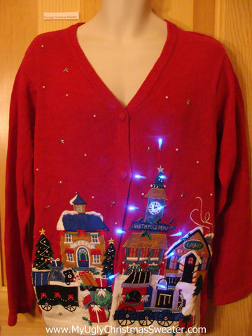 Light Up Christmas Sweater Winter Festive Town