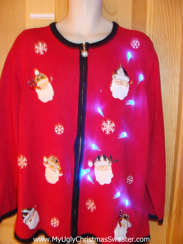 Light Up Christmas Sweater Santa Heads Snowflakes
