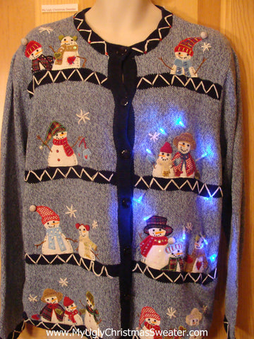 Light Up Blue Christmas Sweater Snowmen Friends
