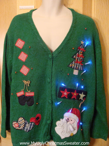 Light Up Green Christmas Sweater Crafty Checkerboard Tree
