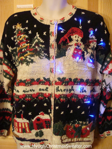 Light Up Christmas Sweater 80s Geometric Crazy Mess