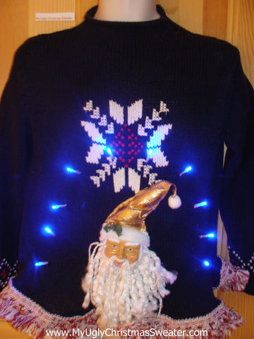 Light Up Christmas Sweater 3D Horrible Santa and Fringe