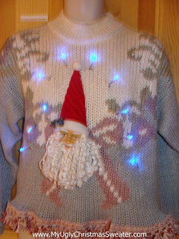 Light Up Xmas Sweater Baby Blue Pullover 3D Santa Fringe
