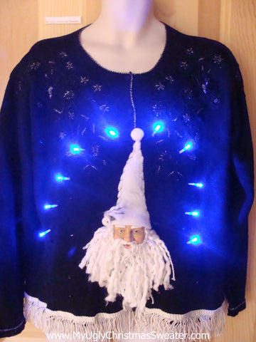 Light Up Christmas Sweater 80s Pullover with 3D Santa Fringe