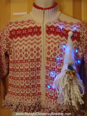 Light Up Christmas Sweater Nordic with 3D Santa and Fringe