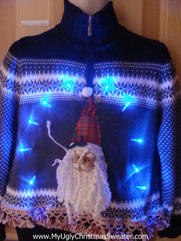Light Up Nordic Christmas Sweater 3D Horrible Santa