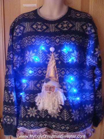 Light Up Nordic Xmas Sweater with 3D Santa and Fringe