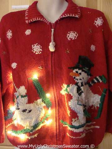 Tacky Ugly Christmas Sweater Skiing Snowmen with Lights  (g108)