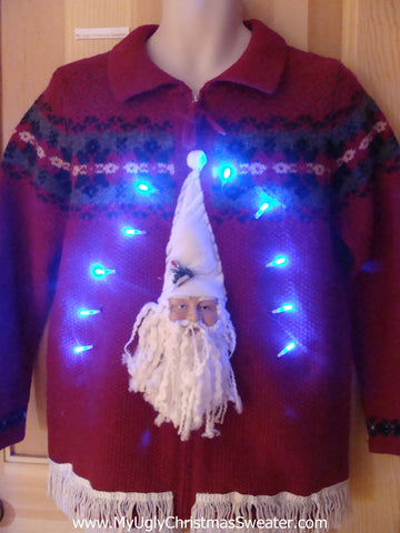 Light Up Christmas Sweater Pullover 3D Santa and Fringe