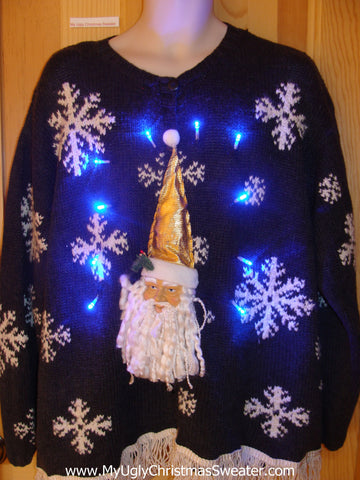 Light Up Christmas Sweater 3D Santa Wms Mens XXXL