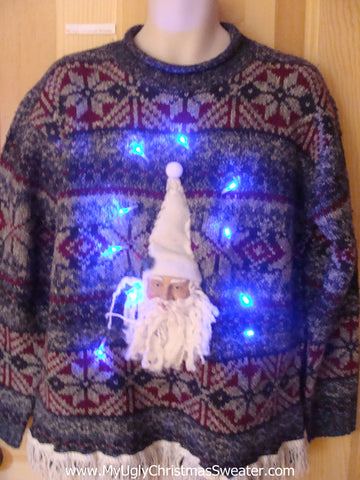 Light Up Nordic Christmas Sweater 3D Santa and Fringe