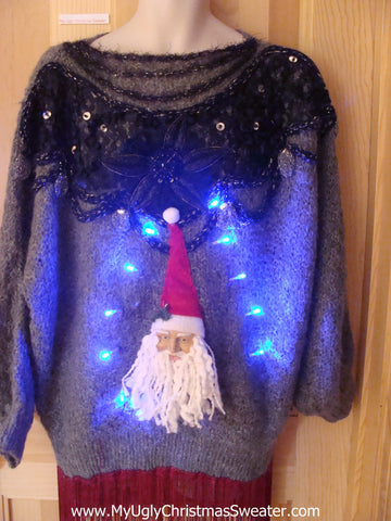 Light Up Christmas Sweater 80s 3D Santa Wms Mens XXXL