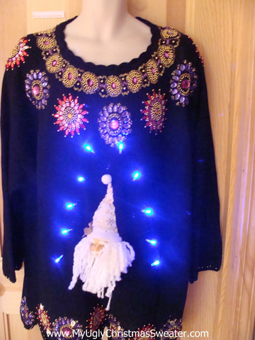 Light Up Christmas Sweater 80s Bling 3D Santa Wm Mens XXXL