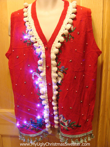 Tacky Ugly Christmas Sweater Vest with Lights and Fringe (g10)