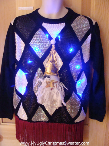 Funny 80s Christmas Sweater with Lights, Bling, 3D Santa