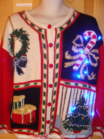 Funny Christmas Sweater with Lights 80s Candycane Tree