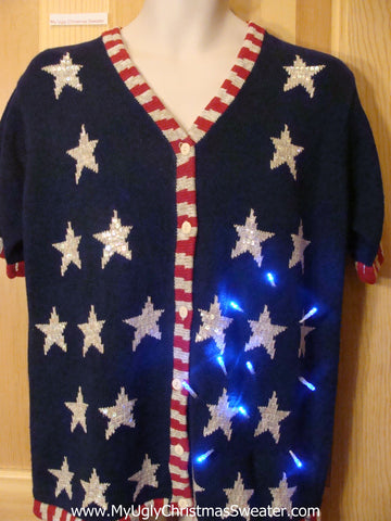 Funny Patriotic 4th July or Xmas Sweater with Lights