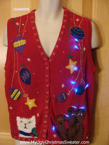 Cat Lady Funny Christmas Sweater Vest with Lights