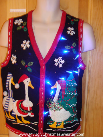 Santa Ducks Funny Christmas Sweater Vest with Lights