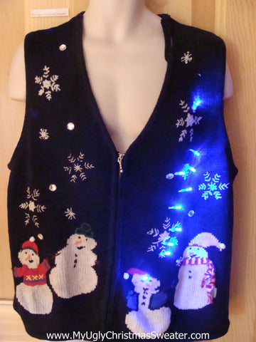 Funny Christmas Sweater Snowman Vest with Lights