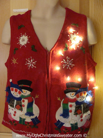 tacky Ugly Christmas Sweater Vest Snowman Family with Lights  (g110)