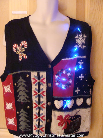 Funny Christmas Sweater Vest with Lights Candycanes