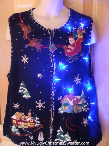 Funny Christmas Sweater Vest with Lights Santa and Reindeer