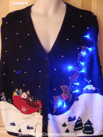 Funny Xmas Sweater Vest with Lights Santa and Flying Reindeer