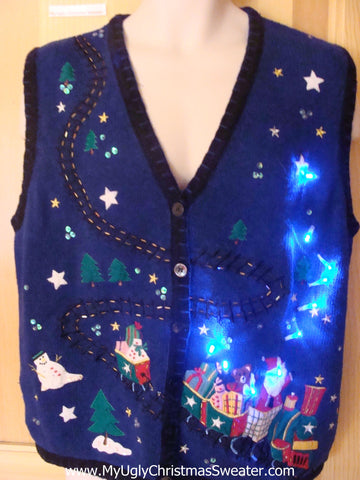 Funny Christmas Sweater Vest with Lights Santa Toy Train