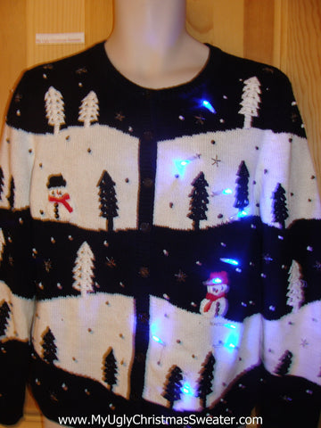 Funny Christmas Sweater with Lights Day and Night Snowmen