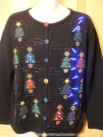 Funny Christmas Sweater with Lights Colorful Buttons and Trees