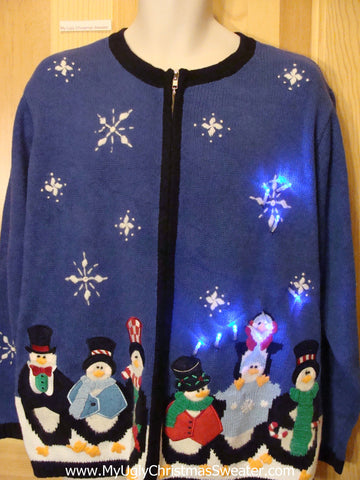 Funny Christmas Sweater with Lights Penguin Winter