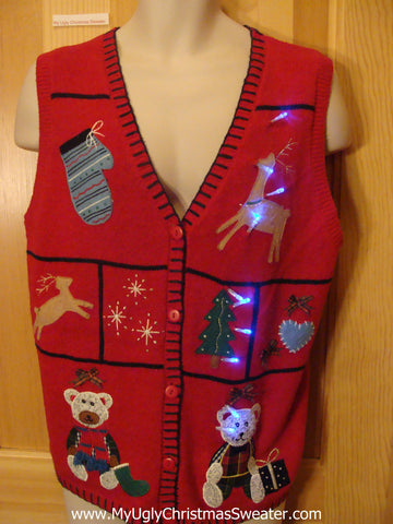 Funny Red Christmas Sweater Vest with Lights Reindeer