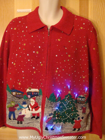 Funny Christmas Sweater with Lights Santa Making Snowman
