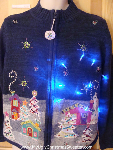 Funny Christmas Sweater with Lights Nighttime Town