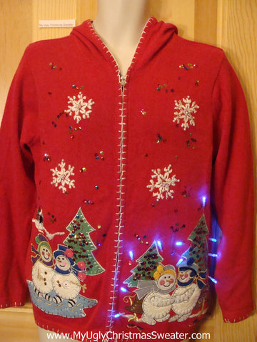 Funny Christmas Sweater Hoodie with Lights Snowmen