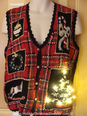 Tacky Ugly Christmas Sweater Vest with Lights  (g112)
