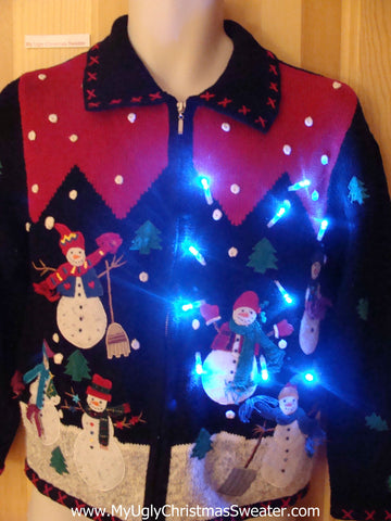 Funny Christmas Sweater with Lights Snowmen Friends