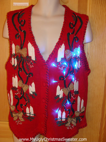 Funny Christmas Sweater Vest with Lights Candles Gold Bows